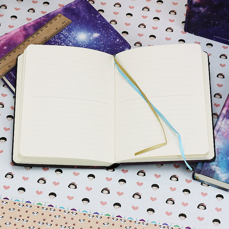 Galaxy Hardcover Notebook Opened Notebook Gold And Blue Ribbon