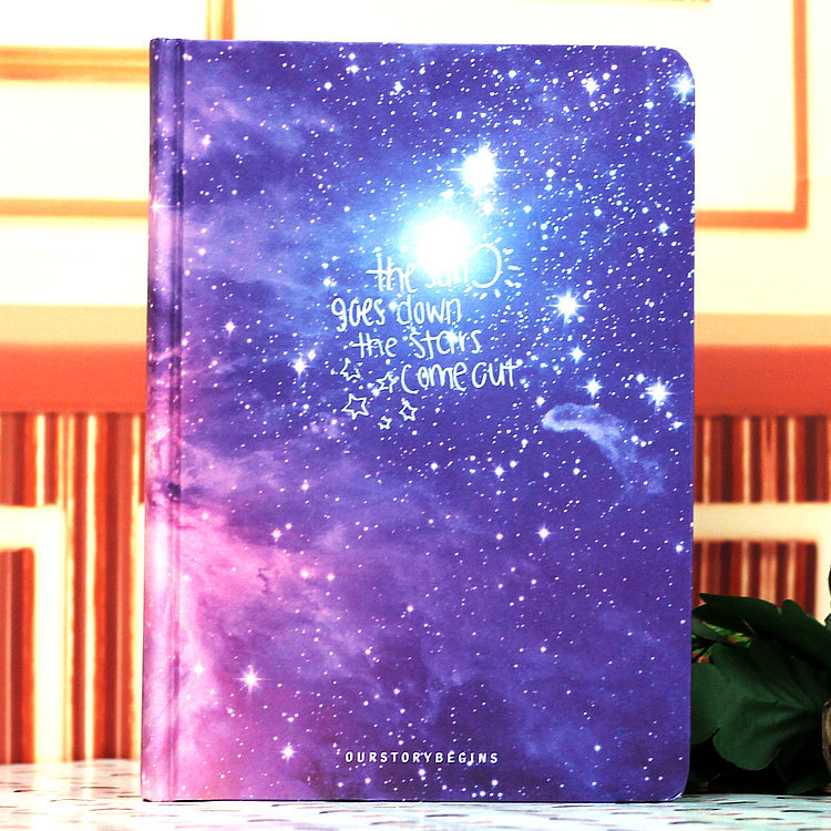 Galaxy Hardcover Notebook Pink and Blue Light