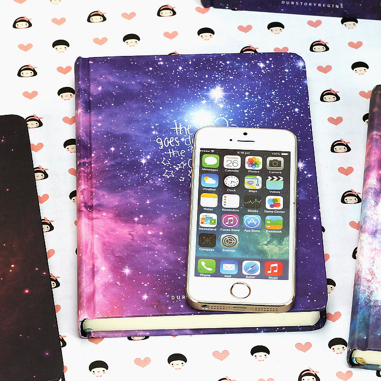 Galaxy Hardcover Notebook Compared To iPhone On Table