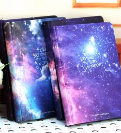 Galaxy Hardcover Notebook Stacked On Table