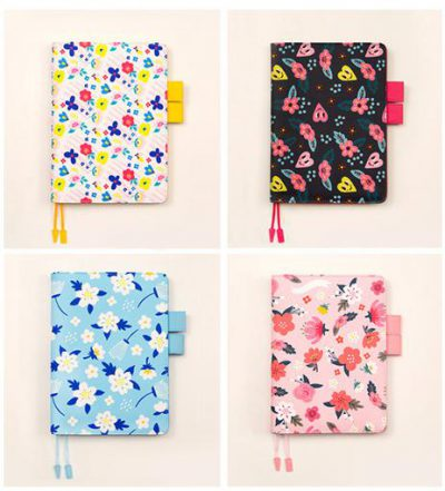 4 Options Of Retro Refillable Notebook Organizer Pink Black Blue Pink Floral