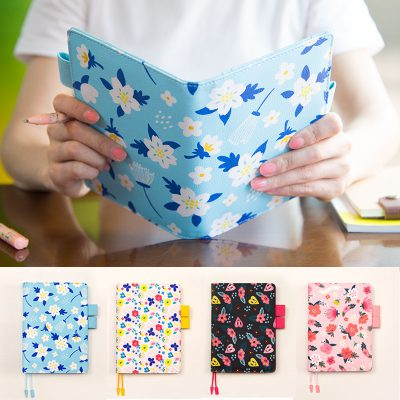 Hand Holding Blue Floral Retro Refillable Notebook Organizer With Four Options Below