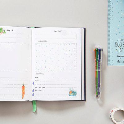 Bucket List Tracker Hardcover Journal Opened Journal Pen Ruler Flatlay