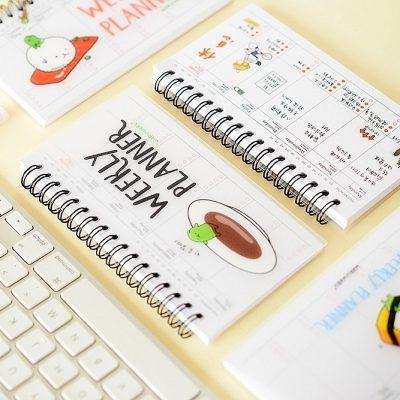 Sushi Cartoon Weekly Planner Flatlay With Keyboard