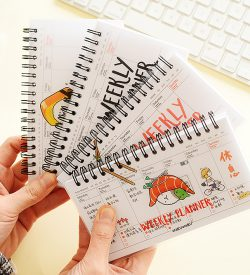 Hand Holding Sushi Cartoon Weekly Planners Fanned Out