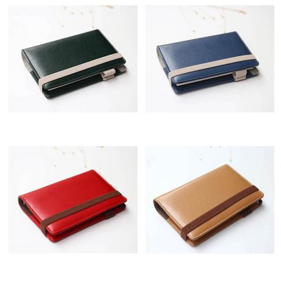 Faux leather refillable journal with strap closure 4 color options green blue red beige