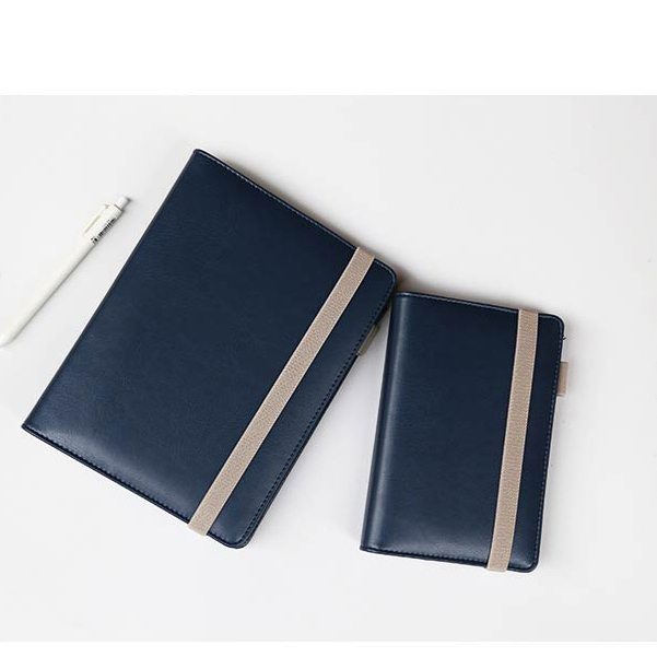 Blue faux leather refillable journal with beige strap closure A5 A6 size comparison