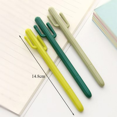 Cactus Gel Pen in 3 Colors Showing Length