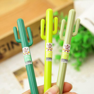 Cactus Gel Pens Held In Hand