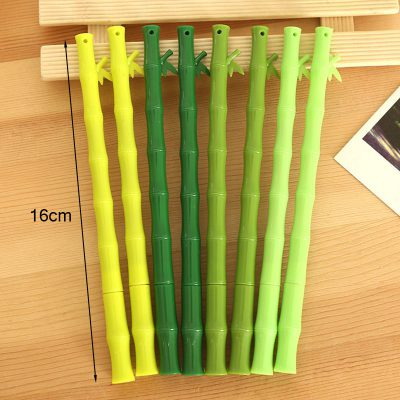 Dimensions of assorted colors green bamboo stick gel pens