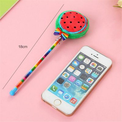 Watermelon plush fruit gel pen dimensions compared with iphone 5