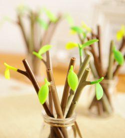 Tree branch gel pen closeup assorted colors brown