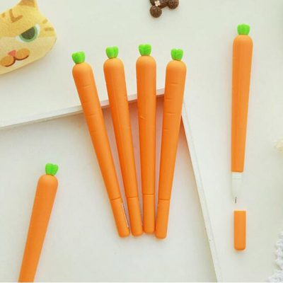 Carrot gel pens flatlay in box