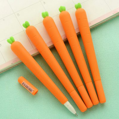 Flatlay of carrot gel pens open cap