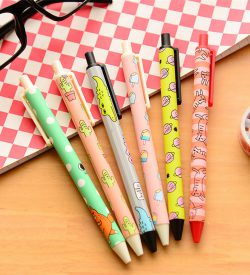 Cartoon pattern gel pen flatlay 6 designs