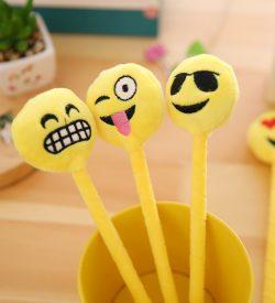 Emoji plush gel pen 3 design options in pen holder