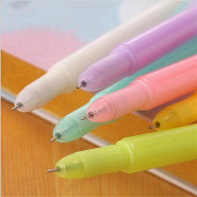 Pastel quill gel pen 6 options closeup white green pink purple orange yellow
