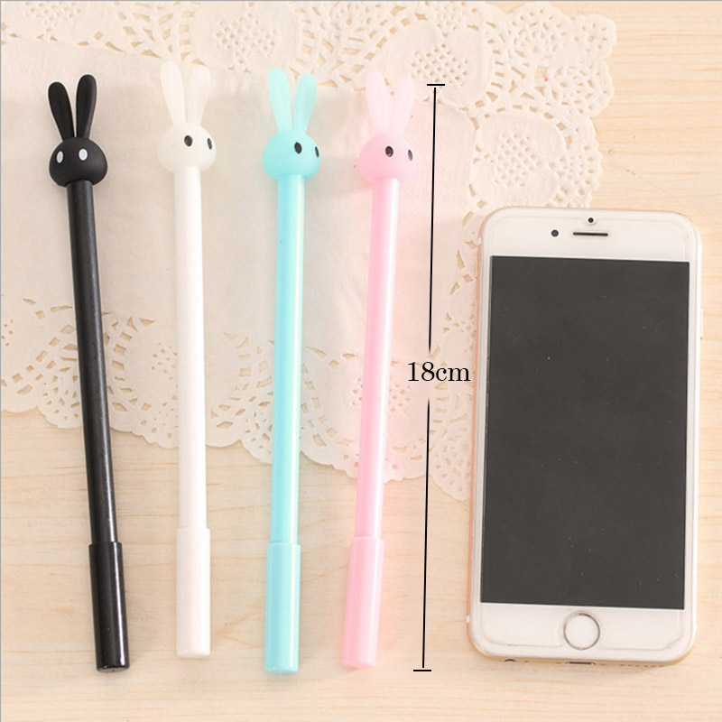 Pastel bunny gel pen 4 color options closeup blue white black pink in pen holder dimensions compared to iphone 6