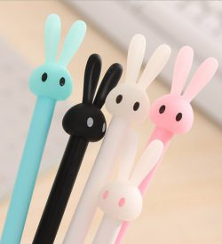 Pastel bunny gel pen 5 color options closeup blue white black pink