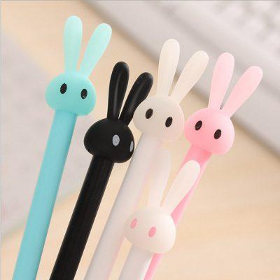 Pastel bunny gel pen 5 color options closeup blue white black pink