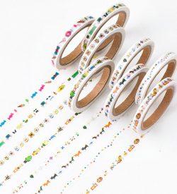 Cartoon icon washi tape assorted flatlay swatch multicolor