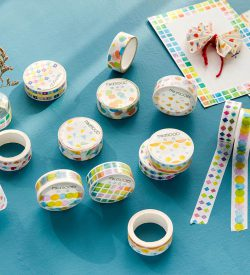 Geometric shape washi tape multicolor flat lay card swatches