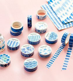 Blue geometric washi tape flatlay swatches multiple options shapes