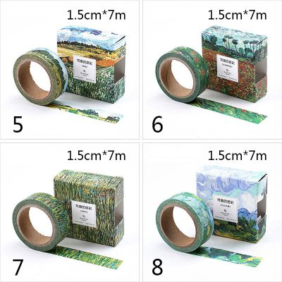 Oil painting print washi tape 4 options impressionist dimensions green