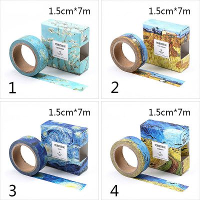 Oil painting print washi tape 4 options impressionist dimensions blue