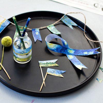 Oil painting print washi tape impressionist demo ribbon flag glass jar on plate