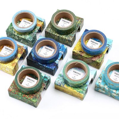 Oil painting print washi tape impressionist swatches flatlay boxes