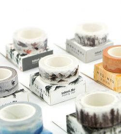 Nature washi tape 7 options flatlay with boxes