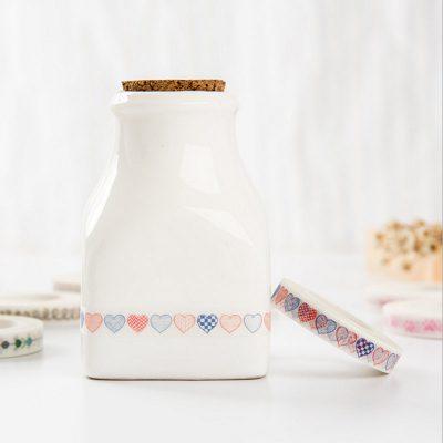 Orange and blue hearts vintage nature washi tape on milk jug
