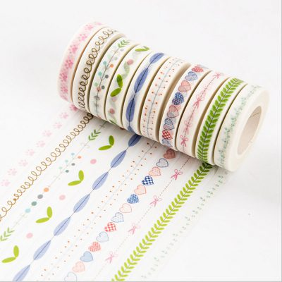 Vintage nature washi tape in-line swatches