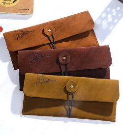 Vintage faux leather eiffel tower pencil case 3 options elastic closure envelope style flatlay
