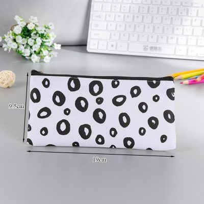 Black and white flat pencil case circle design dimensions
