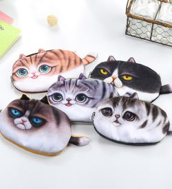 Plush cat pencil case 5 options flatlay