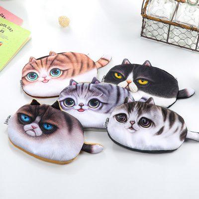 Plush cat pencil case 5 options flatlay