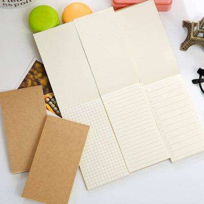 Kraft memo pads 3 options grid lined to do list white paper open notebook