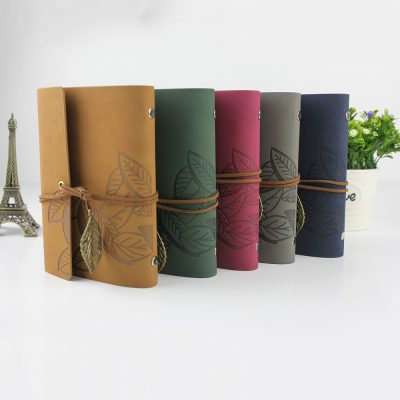Faux leather leaf refillable journal with charm suede cord wrap 5 color options eiffel tower decor
