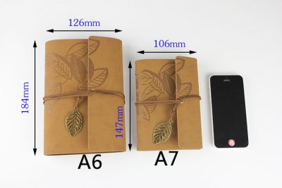 Faux leather leaf refillable journal light brown color size A6 A7 dimensions compared to iphone 5