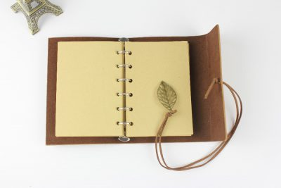 Faux leather leaf refillable journal with charm open notebook kraft paper