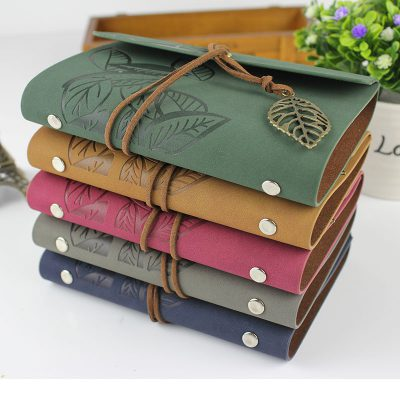 Faux leather leaf refillable journal with charm 5 color options stacked
