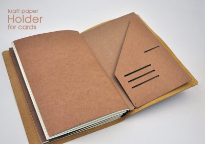 Kraft paper holder for cards for handmade felt refillable journal one page