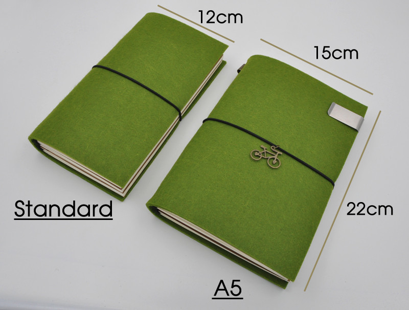 Green handmade felt refillable journal with bicycle charm and stainless steel metal pen holder clip standard and A5 sizes dimensions
