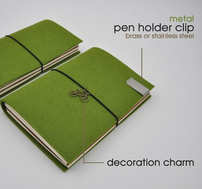 Green handmade felt refillable journal with bicycle charm and stainless steel metal pen holder clip