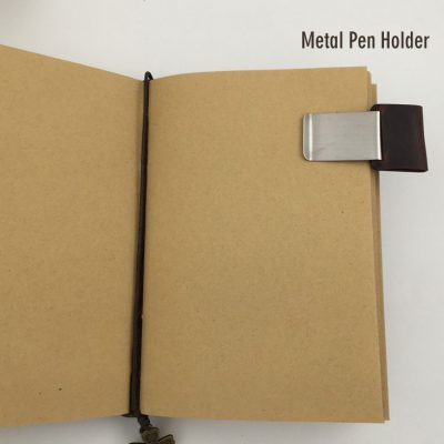 Basic vintage leather journal with four leaf clover charm bookmark open notebook kraft inner paper and metal pen holder