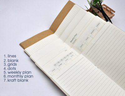 Inner refill paper lines blank grids dotted weekly monthly plan kraft filler notebooks 7 options