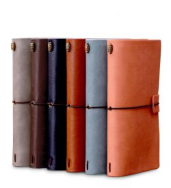 Faux leather refillable journal six notebooks brown blue orange with elastic closure