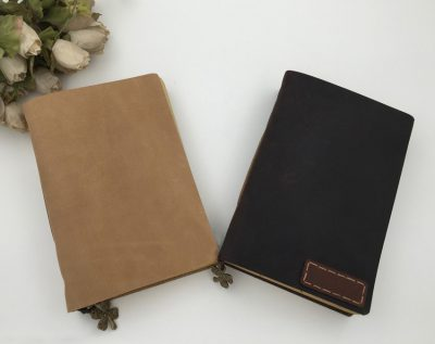Basic vintage leather journal two notebooks side by side earth yellow dark brown